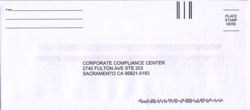 The front of the return envelope included in the package.