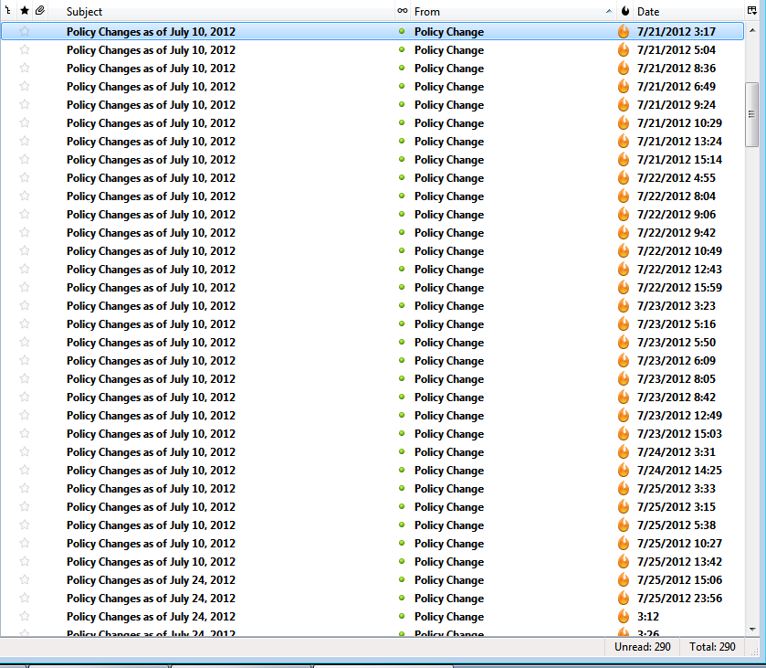 Screenshot of my Junk folder on July 2012