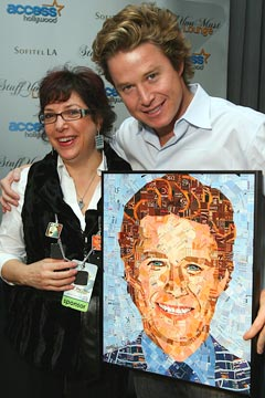 Sandhi Schimmel Gold with Billy Bush and a picture of him by her.