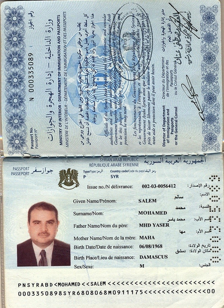Syrian passport, out of date, but look genuine otherwise.